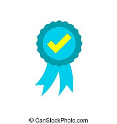 Approved certificate medal icon in flat style. Check mark stamp vector illustration on white isolated background. Accepted, award seal business concept.