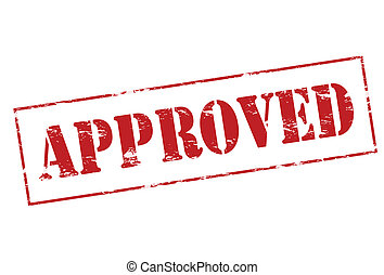 Approved - Rubber stamp with word approved inside, vector...