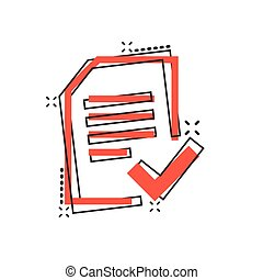 Approved document icon in comic style. Authorize cartoon ...