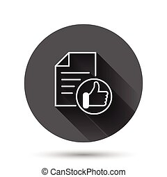 Approved document icon in flat style. Authorize vector illustration on black round background with long shadow effect. Agreement check mark circle button business concept.