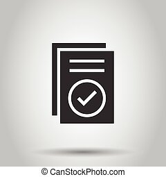 Approved document icon in flat style. Authorize vector ...