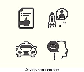 Approved document, Taxi and Startup icons. Good mood sign. Like symbol, Public transportation, Developer. Vector