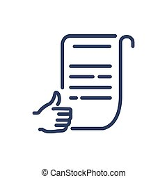 Approved document thin line icon. Paper, thumb up, hand like...