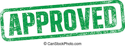 """Vector illustration of the word """"Approved"""" in green ink stamp"""