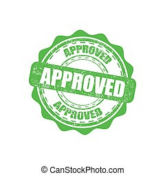 Approved green rubber stamp with grunge in a flat design