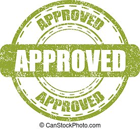 Approved green stamp with grunge on a white background