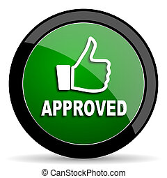 approved green web glossy icon with shadow on white background
