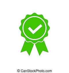 Approved icon in flat style Certified medal symbol