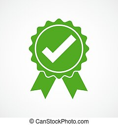 Approved icon. Vector illustration. - Green approved icon in...