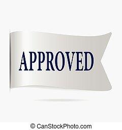 Approved label, silver ribbon badge illustration