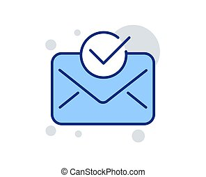 Approved mail line icon. Accepted or confirmed sign. Vector