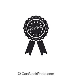 Approved or certified medal badge with ribbons icon isolated. Approved seal stamp sign. Flat design. Vector Illustration