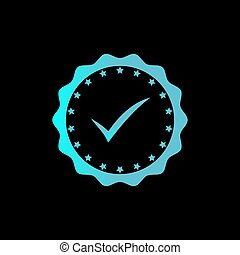 Approved or certified medal icon in glowing techno blue color. Rosette icon. Award vector