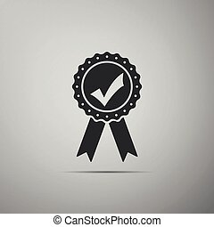 Approved or certified medal with ribbons and check mark icon isolated on grey background. Flat design. Vector Illustration