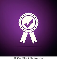 Approved or certified medal with ribbons and check mark icon isolated on purple background. Flat design. Vector Illustration