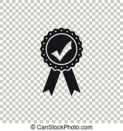 Approved or certified medal with ribbons and check mark icon isolated on transparent background. Flat design. Vector Illustration
