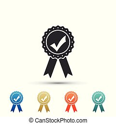 Approved or certified medal with ribbons and check mark icon isolated on white background. Set elements in colored icons. Flat design. Vector Illustration