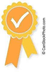 Approved orange medal icon. Vector illustration