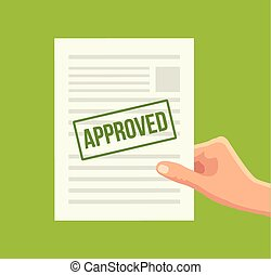 Approved paper document. Vector flat illustration