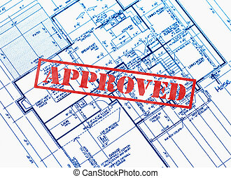 Approved plans - House blueprint stamped with approved in...