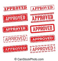 Approved red rubber stamp set over a white background