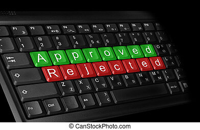 Approved-Rejected - Computer keyboard - text on green keys...