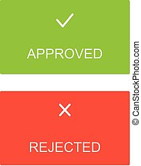 Approved rejected interface dialog box icons icon flat web sign symbol logo label