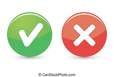 Approved and rejected web icons on green and red buttons on white background.