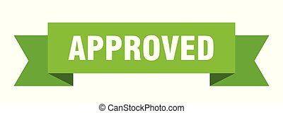 approved ribbon. approved isolated sign. approved banner