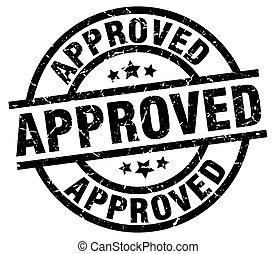 approved round grunge black stamp