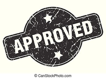 approved round grunge isolated stamp