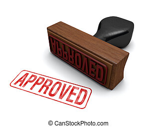 """Rubber stamp that says """"APPROVED"""" stamped in red letters on a white background"""