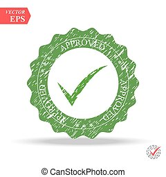 Approved rubber stamp sign.-eps10 vector. Green checkmark icon isolated on white background.