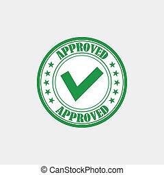 Approved rubber stamp vector illustration. Green sticker with tick