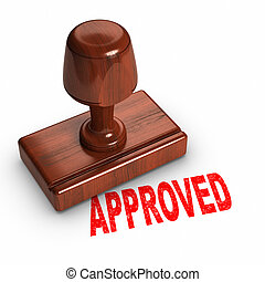 "Approved - Rubber stamp with a word ""APPROVED"" printed."