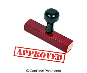Rubber stamp with the word approved stamped on a piece of paper