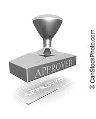 Approved seal stamp silver color 3d illustration