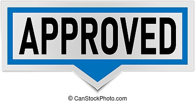 approved sign. approved rounded blue sticker. approved speech bubble
