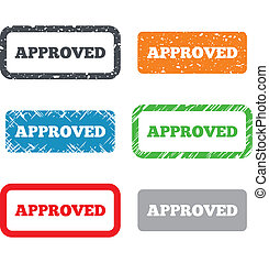 Approved sign icon. Checked symbol. Retro Stamps and Badges. Vector