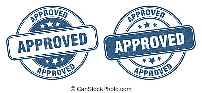 approved stamp. approved label. round grunge sign
