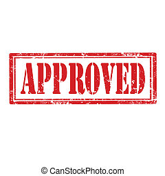 Approved-stamp - Grunge rubber stamp with word...