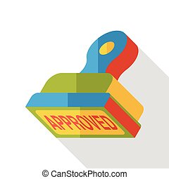 approved stamp flat icon