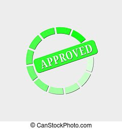 Approved stamp, green isolated on white background, vector illustration.