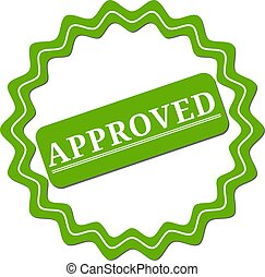 Approved. stamp. green round grunge approved sign