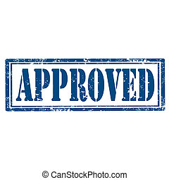 Approved-stamp - Grunge rubber stamp with text...