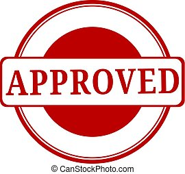 Approved. stamp. red round grunge approved sign. Grunged approve stamp