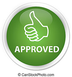 Approved (thumbs up icon) premium soft green round button