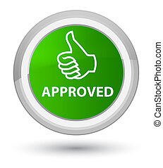 Approved (thumbs up icon) prime green round button