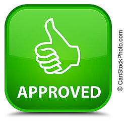 Approved (thumbs up icon) special green square button