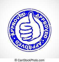 Approved thumbs up stamp